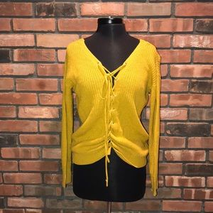 🌼🍁Fall Tie Up Front Knit Sweater Dark Yellow
